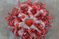 Deco Mesh Valentine Wreath  Valentine by SouthernCharmFlorals, $58.00