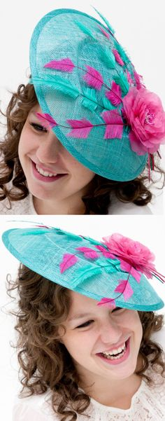 Turquoise and Hot Pink Floral and Feathers Hat. Fun Headpiece for Mother of the Bride or Racing Fashion, Day at the races. Kentucky Derby Oaks day, Royal Ascot, Epsom Derby, Melbourne Cup. Raceday Fashion ideas and inspiration. #millinery #kentuckyderby #derbyoutfits #royalascot #ascotoutfits #racingfashion #motherofthebride #weddings #weddingguest #affiliatelink #hats