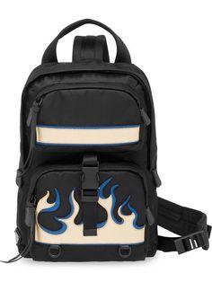 4b1f6336303 Prada Saffiano Leather Insert Flame Backpack - Farfetch Black Backpack,  Backpack Bags, Fashion Backpack