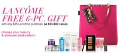Out of Lancome products? Visit Macy's now and receive this 6pc gift - free with any $35 purchase. http://cliniquebonus.org/lancome-gift-with-purchase/
