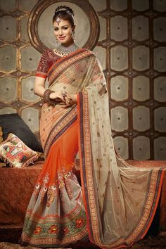 Stylish Ayesha Takia Embroidered Designer Party Wear Saree with blouse