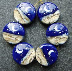 Lampwork beads 856 Sprees 6 Twilight by beadgoodies on Etsy, $26.00