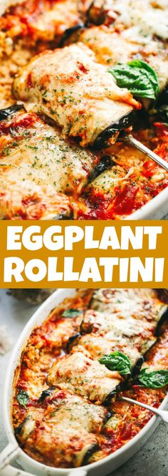 Eggplant Rollatini - Eggplant rollups stuffed with a cheesy ricotta blend, and baked in a delicious marinara sauce. If you are looking for a darn good vegetarian dish that's bursting with flavah-flave, here it is! Vegan Eggplant, Eggplant Dishes, Baked Eggplant, Italian Dishes, Italian Recipes, Best Vegetarian Dishes, Vegetarian Eggplant Recipes, Vegetarian Italian, Eggplant Rollatini Recipe
