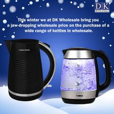 DK Wholesale brings you the most amazing winter kettle deals.This winter we at DK Wholesale bring you a jaw-dropping wholesale price on the purchase of a wide range of kettles and other various products in wholesale. We have branded kettles such as Tower, Daewoo, Swan, Kitchen Perfected, Argyle, and many more. Get in touch with us or visit our online store www.dkwholesale.com to buy our vast range of kettles in wholesale and to know more about them. Kitchen Gadgets, Kitchen Appliances, Domestic Appliances, Fruit Juicer, Kettles, Swan, Food Processor Recipes, Coffee Maker, Tower