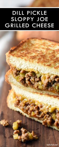 Dill Pickle Sloppy Joe Grilled Cheese is the best of both sandwich worlds when s. - Dill Pickle Sloppy Joe Grilled Cheese is the best of both sandwich worlds when sloppy joes and gril - Grill Sandwich, Soup And Sandwich, Sandwich Recipes, Salmon Sandwich, Grilling Recipes, Beef Recipes, Cooking Recipes, Soup Recipes, Gourmet