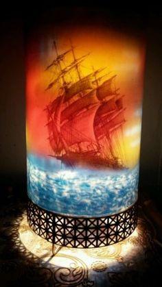 A 1956 L Lighthouse /& Sailing Ship Motion Lamp Light Mid Century Modern Decor Co Goodman Mfg Works great