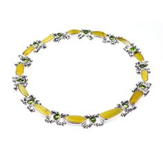 Silver collar necklace with amber and peridot - product images  of SCHJ www.silverchamber.co.uk