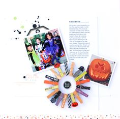 Happy Halloween - Scrapbook.com - Fabulous use of clothespins on this adorable Halloween layout!
