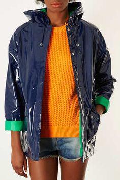 Patent Hooded Plastic Rain Mac