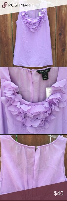 "WHBM sleeveless ruffled lavender chiffon tank White House Black Market sleeveless blouse, with ruffled detail, beautiful lavender color, with side zipper, women's sz XS bust = 34"" length = 26"" NWT WHBM tank top White House Black Market Tops Blouses"