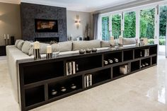 Long low bookcase long low bookcase family room contemporary with art glass lighting with regard to Long Low Bookcase, Low Bookshelves, Black Bookcase, Bookcase Behind Sofa, Low Shelves, Living Room Tv, Living Room Modern, Home And Living, Living Room Designs