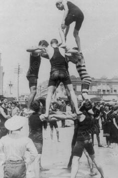 Atlantic City Beach Human Pyramid 4x6 Reprint Of 1920s Old Photo