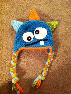 Crochet Monster Hat Blue Green Orange Halloween Costume Newborn Photography Prop. $20.00, via Etsy.