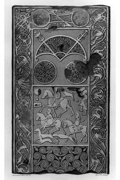 Hilton of Cadboll stone. From J Stuart, The Sculptured Stones of Scotland, i, pl. Celtic Patterns, Celtic Designs, Celtic Symbols, Celtic Art, Pictish Warrior, Ancient Tattoo, Celtic Tree Of Life, Celtic Dragon, Celtic Tattoos