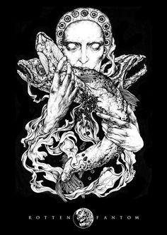 Rotten Fantom / Braschur by Elena Snegotckaia, via Behance #illustration #drawing #bw #dots #fish