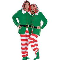 33558f4d75 Adult Elf One Piece Pajamas - Party City