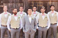 groomsmen in pink ties. groom is wearing a floral tie - yeah!