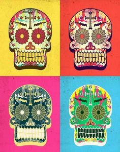 Día de los Muertos – Mexican Day of the Dead Celebration - Latino Foodie Day Of The Dead Artwork, Sugar Scull, All Saints Day, Mexican Folk Art, Warhol, Art Plastique, A Team, Art Projects, Illustration Art