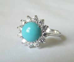 Vintage, Uncas, faux Turquoise and brilliant crystal Cocktail  ring. Dinner ring. Sterling silver. $36.00