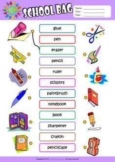 Schoolbag ESL Printable Worksheets For Kids