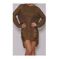 Rotita Camel Ripped Distressed Shredded Sweater Dress ($21) ❤ liked on Polyvore featuring dresses, khaki, long sleeve dress, sleeved dresses, pattern dress, khaki dress and longsleeve dress