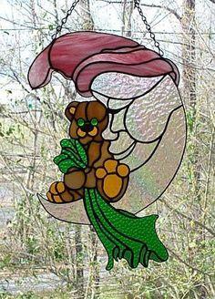 Stained Glass Sleepy Time Teddy Bear - Handcrafted In the USA Stained Glass Projects, Stained Glass Patterns, Stained Glass Art, Stained Glass Windows, Mosaic Glass, Fused Glass, Mosaic Wall, Stained Glass Suncatchers, Glass Animals