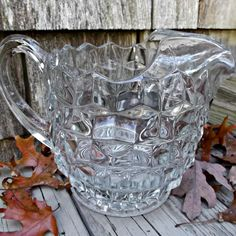 Fostoria Elegant Clear Glass American Pitcher Jug with Ice Lip Vintage  offered by Ruby Lane shop Saltymaggie's Treasures