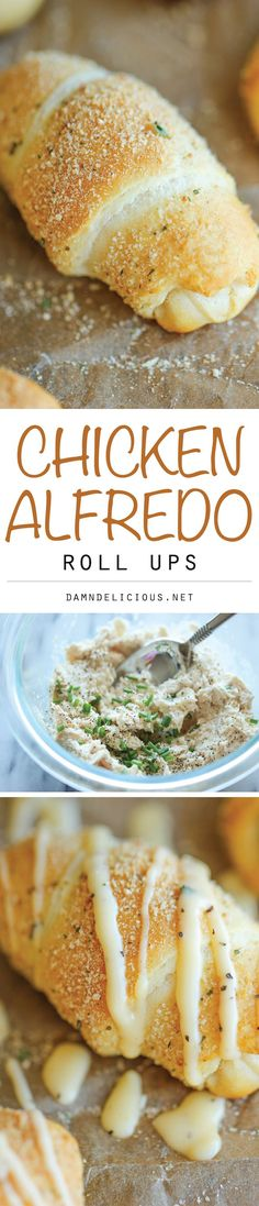 Chicken Alfredo Roll Ups - The easiest, no-fuss chicken alfredo you will ever make, conveniently stuffed in the butteriest roll ever!