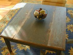 Painted Coffee Table From Antique Painted Boards