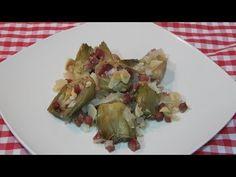 Receta fácil de alcachofas al horno con jamón - YouTube Sprouts, Asparagus, Vegetables, Food, Youtube, Cooking Recipes, Baked Artichoke, Light Recipes, Planks