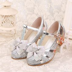 dc3107e05559 Girl's Closed Toe Leatherette Low Heel Pumps Flower Girl Shoes With Bowknot  Buckle Rhinestone