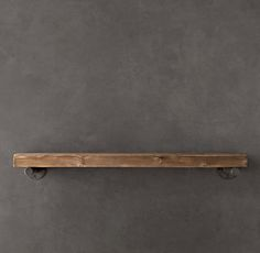 "Reclaimed Wood Wall Shelf, Restoration Hardware, 36""Wx11""D, $195 (For just the shelf.  Brackets sold separately @ 45.00 each.  Could get my own wood...?  OR make something similar with galvanized pipes?!  Make 10"" deep, to fit cook books.)"
