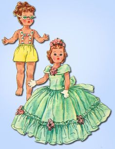 1950s Vintage Simplicity Sewing Pattern 1405 14.5 Inch Toni Walker Doll Clothes