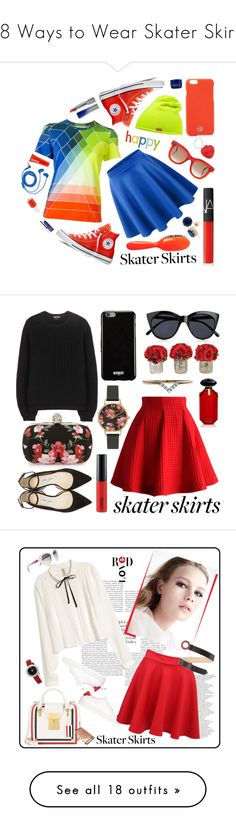 """""""18 Ways to Wear Skater Skirts"""" by polyvore-editorial ❤ liked on Polyvore featuring skaterskirt, waystowear, Mary Katrantzou, Converse, Hunter, FOSSIL, Thierry Lasry, Tory Burch, Clinique and Rock & Ruddle"""