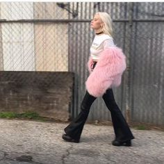 WEBSTA @ allhellbrookeloose - Repost - @gracemckagan of @thepinkslipsofficial struttin in custom stretch lamb leather lace-up pants 💕