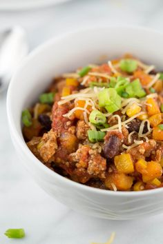 Stay warm with a big bowl of thick turkey chili with roasted jalapeño peppers…