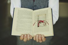 'Novel' way to carry wedding bands! Use one of your favourite books, or a book you both love.