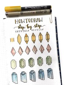 Bullet journal drawing idea, How to Draw Crystals, drawing tutorial. | @couleursduvent