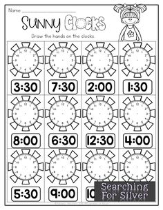 Sunny Clocks and other engaging and fun no-prep math printables for summer! Halloween Math Worksheets, Math Coloring Worksheets, Kindergarten Math Worksheets, Math Literacy, Teaching Math, Math Activities, Math Math, Math For 1st Graders, First Grade Math