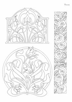 The ornamental Art Nouveau style in the interior design and .- Der ornamentreiche Jugendstil in der Innenarchitektur und Einrichtung art nouveau pattern-template-template-flower-motive - Motifs Art Nouveau, Design Art Nouveau, Motif Art Deco, Art Nouveau Pattern, Flores Art Nouveau, Art Nouveau Flowers, Alphonse Mucha, Frise Art, Arte Art Deco