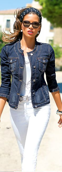 white on white jeans & blouse with denim jean jacket with tiny ruffles. love that jacket. fun, casual everyday style