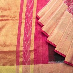 Linen - Black w Watermelon ikat & zari border; watermelon pink blouse; (silk*linen); Tissue pallu.