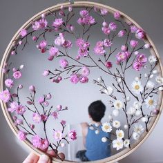How to make embroidery hoop art with dried flowers - From Britain with Love,How to make embroidery hoop art with dried flowers and spring blossom. Olga Prinku shares her simple step by step DIY tutorial to create your own bota. Embroidery Hoop Crafts, Embroidery Art, Embroidery Patterns, Flower Embroidery, Ribbon Embroidery Tutorial, Tutorial Diy, Happy March, Deco Floral, Pink Blossom