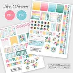 Free Floral Chevron Planner Stickers                                                                                                                                                                                 More