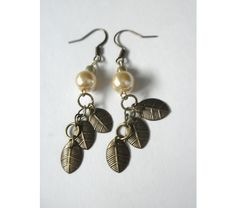 Autumn Leaf and Pearl Earrings, $10.0