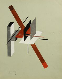 scene mask piece + ramp/ El Lissitzky, Proun (ca Gouache and graphite on paper. Signed lower left in Latin letters collectors stamps of Darius Tale Yar Kahn and Marcus Oliver, London, on the verso. Design Bauhaus, Russian Constructivism, Kazimir Malevich, Arte Popular, Gouache Painting, Kandinsky, Geometric Art, Art Auction, Art And Architecture