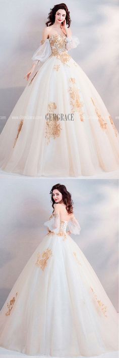 1818 Classic Gold With White Ball Gown Princess Wedding Dress Off Shoulder at GemGrace Shop now to get 10 off Biggest new arrivals for wedding dresses and prom dresses at. Gold Wedding Gowns, Wedding Dress Sleeves, Princess Wedding Dresses, Bridal Gowns, Wedding White, Dress Wedding, Trendy Wedding, Princess Gowns, Wedding Dress With Gold