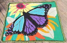 Tunisian crochet butterfly afghan by pesky pixie.