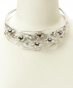 Antique Silver & Pink Sparkle Flower Necklace