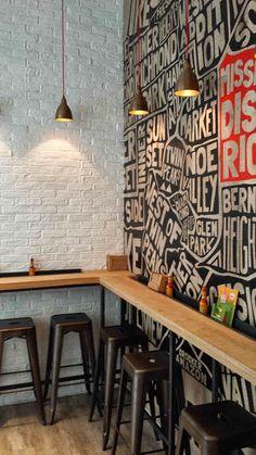 Mission Burrito, Cardiff Wall illustration is part of Restaurant decor - Pizzeria Design, Small Restaurant Design, Restaurant Interior Design, Small Cafe Design, Restaurant Furniture, Cafe Shop Design, Coffee Shop Interior Design, Small Coffee Shop, Coffee Shop Bar